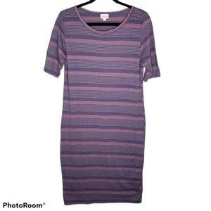 LuLaRoe Dress Julia T-Shirt Purple Blue Stripe